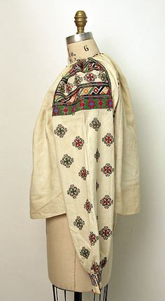 Blouse | Romanian | The Met.Date:1875–1925 Medium:cotton, glass Russian Embroidery, Folk Embroidery, Folk Costume, Costumes, Vintage Couture, Historical Clothing, Metropolitan Museum, Kimono Top, Blouse