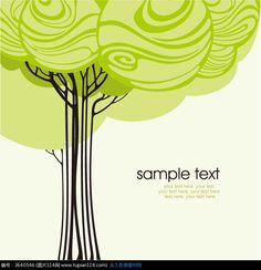 简约清新彩色手绘线条卡通树卡片eps图片