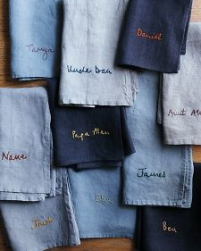 Monogrammed denim napkins tips