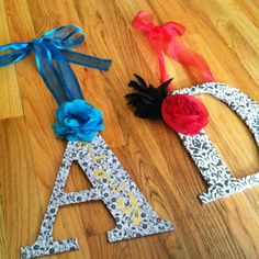 pinterest idea finally accomplished:) the D is ready for my dorm room!