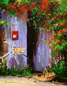Good Evening Ladies, that you so much for the great cat art. Tonight and Wednesday let's pin Russian artist GLEB GOLOUBETSKI. I hope you enjoy his art. Love Painting, Artist Painting, Watercolor Paintings, Bicycle Painting, Bicycle Art, Art Expo, Pintura Exterior, Art Themes, Beautiful Paintings