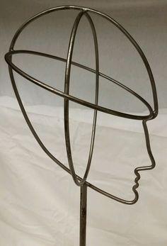 "Vintage Steel Wire Frame 20"" Dept Store Advertising Mannequin Head/Hat/Wig Stand #Unknown"