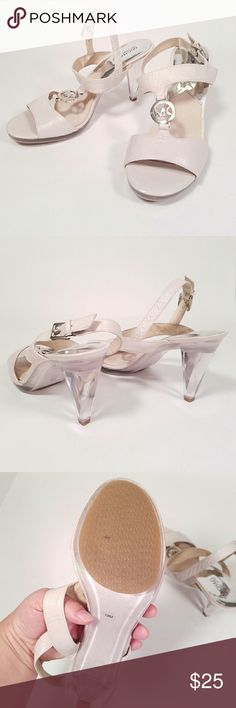 10 m Michael Kors heel sandals with MK logo Michael Kors heel sandals. Clear heel. Michael Kors Shoes Heels