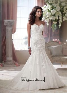 Alluring Tulle & Satin Sweetheart Neckline Natural Waistline Mermaid Wedding Dress
