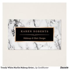298 best zazzle business cards images on pinterest business cards personalize a business card to be uniquely yours with this trendy white marble makeup artist hair reheart Image collections