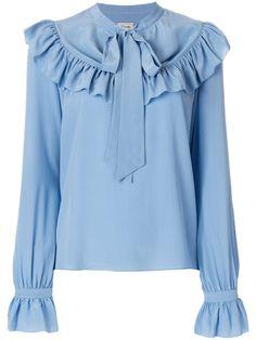 Shop Temperley London Costume Ruffle Blouse In Blue from stores. Iris blue silk Costume ruffle blouse from Temperley London. Sleeves Designs For Dresses, Dress Neck Designs, Blouse Designs, Modest Fashion, Hijab Fashion, Fashion Outfits, Muslim Fashion, Trendy Clothes For Women, Blouses For Women