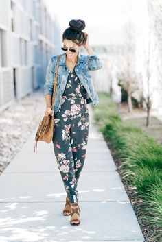 I love this floral jumpsuit and have worn it a couple times now and love it more and more each time! It is the perfect go-to for going out with your girlfriends or for a fun date night look! I love the fit and am wearing an XS. I could have gone with a small so I think if you're in between either one you would be good with.  This floral jumpsuit is perfectly paired my trusty denim jacket that I love so much! Mine is from J Crew. I think throughout the years they have a tad bit different…