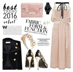 """""""Best Trend of '16: Velvet"""" by sinesnsingularities ❤ liked on Polyvore featuring Yves Saint Laurent, Vera Wang, Warehouse, Joomi Lim, Loli Bijoux, Alice + Olivia, Dolce&Gabbana, Toy Watch, contestentry and besttrend2016"""