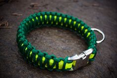 Oregon Ducks Paracord Dog Collar - Forest Green and Neon Yellow (Double Cobra…