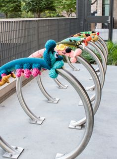 I love these yarn bombs by Knits For Life at the San Mateo Library