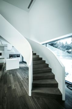 clean stair design  Rectangle parallelepiped House