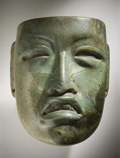 Mexico, Olmec  Mask, 1000-600 B.C.  Mask/headdress, Jadeite with traces of cinnabar, Height: 4 in