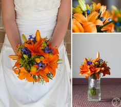 orange and blue flowers