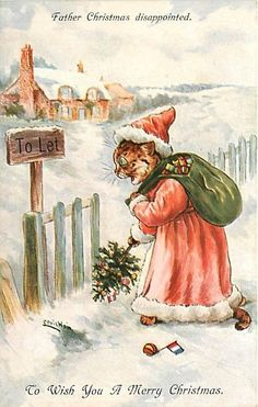Louis Wain Father Christmas Santa Cat Scarce 4232   eBay
