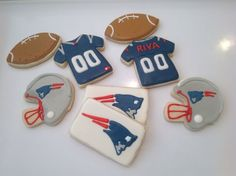 PATRIOT Football Sugar Cookies | Patriots, New England Patriots - Decorated Sugar Cookies by I Am The ...