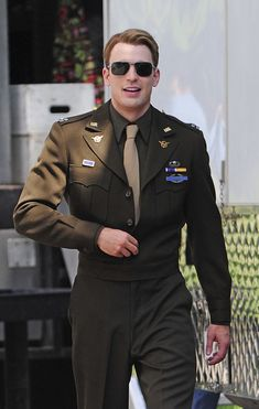 "Steve Rogers Chris Evans walks to set of ""The Avengers"" filming in Central Park, NYC."