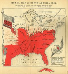 Moral Map of North America, 1854 The Slave States are coloured Red _ The blighting influence of Slavery is also deeply felt in those parts more slightly streaked with Red