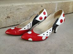 Vintage 80s shoes Red black and white polka dot by ionascloset, $26.00