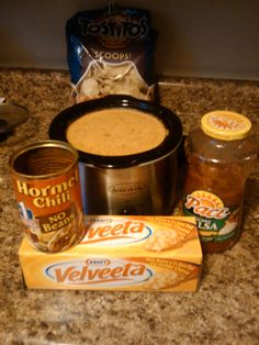 The best cheesey dip ever! I use about 26oz of velveta cheese (cubed), 1 15oz can of no bean hormel chili (the hot no bean chili is good too) and 1 16 oz jar of pace salsa. Add all ingredients in crock pot. Stir occasionally and you will have deliciousness in about an hour!