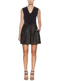 Gilt의 Early Access: Maje 세일 중 V-Neck Dress with Metallic Skirt