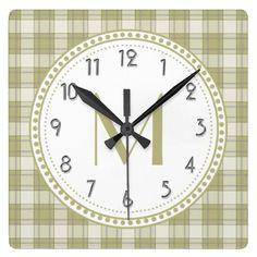 Sage Green Country Plaid Pattern Monogram Clock http://www.zazzle.com/sage_green_country_plaid_pattern_monogram_clock-256067290556767206?rf=238588924226571373