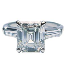 2.46 Carat GIA cert emerald cut diamond platinum engagement Ring | From a unique collection of vintage engagement rings at https://www.1stdibs.com/jewelry/rings/engagement-rings/
