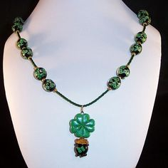 Lampwork Glass Necklace Pot o'Gold by LiteratePackrat on Etsy,