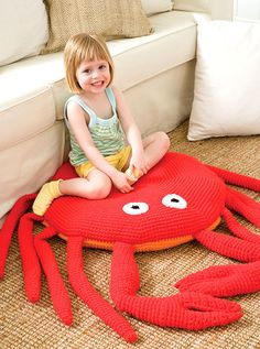 Something fun to crochet. Although it's not actually a rug, it makes a great floor cushion for reading or watching TV.