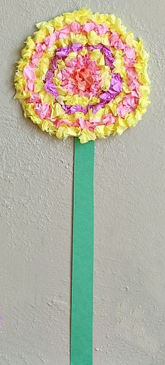 Mothers Day Preschool craft. Flower Crafts for Kids: Textured Tissue Paper Flowers - Buggy and Buddy