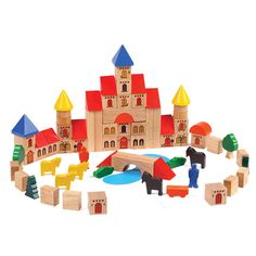 Wooden Castle Building Blocks - Build castles, palaces and churches with turrets and spires.  Blocks with imprinted windows and doors, different kinds of roofs plus animals and trees.