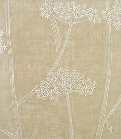 Fabrics & Papers  Anise Embroidered Fabric Taupe Linen fabric with embroidered aniseed plant design in white. Suitable for Curtains and General Domestic Upholstery.  £65.00 per metre