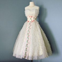 1950s Tea Length Wedding Dress...1950s Cream Chiffon and by deomas, $258.00