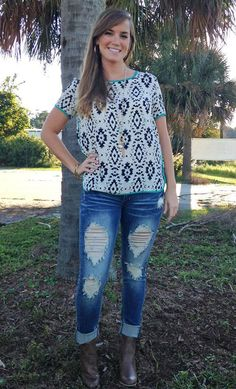 Navy and White Tribal Print Top
