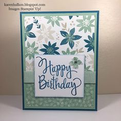 Blooms & Bliss DSP by Stampin' Up! with Stylized Birthday Wood Mount Stamp.