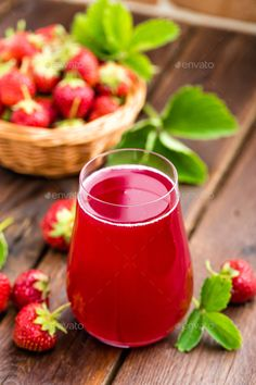 Strawberry juice by sea_wave. Strawberry juice Strawberry juice by sea_wave. Kombucha, Fresco, Vitamins For Vegetarians, Strawberry Drinks, Juice Branding, Yummy Smoothies, Green Smoothies, Plant Based Nutrition, Food Photography Tips