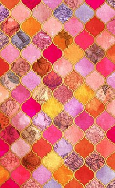 Hot Pink, Gold, Tangerine & Taupe Decorative Moroccan Tile Pattern Window Curtains