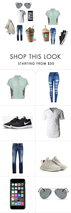 """Starbucks"" by explorer-14484921021 on Polyvore featuring Jaeger, WithChic, NIKE, LE3NO, Jack & Jones, adidas Originals, Off-White and Ray-Ban"