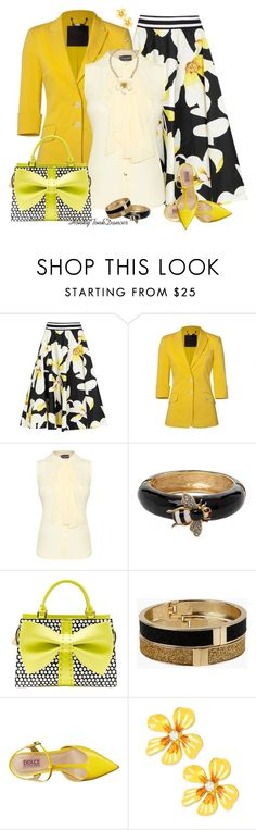 """""""Bumble Bee Colors with Betsey Johnson Bag"""" by honkytonkdancer ❤ liked on Polyvore featuring Alice + Olivia, James Lakeland, Kenneth Jay Lane, Betsey Johnson and Mojo Moxy"""