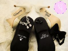Custom Wedding Shoes Decal Set - Happily Ever After + Name And Date - Wedding Shoes Sole Sticker Wedding Decal Bride And Groom Shoes Decals