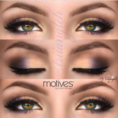 Soft gold and purple smokey eye with a thick soft winged liner .