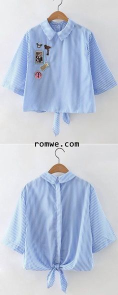 Awesome Korean top dresses Blue Stripe Knotted Back Applique Blouse. Diy Fashion, Korean Fashion, Fashion Outfits, Womens Fashion, Fashion Design, Fashion Trends, Fashion Clothes, Latest Fashion, Diy Clothes
