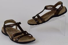 Taos Trophy Women's 8 Bronze Tooled Leather Slingback Velcro Strap Sandals LK NW #Taos #Slingbacks #Casual