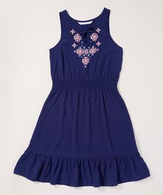 Take a look at this Blue Embroidered Blouson Dress - Toddler & Girls today!