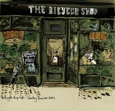 The Bicycle Shop Cafe Bicycle Shop, Bicycle Art, Bike Shops, Witch House, Urban Sketchers, Graphic Illustration, Illustrations, Love Drawings, Town And Country