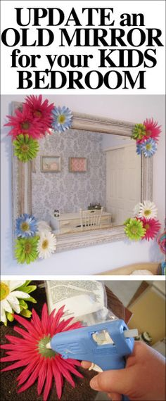 Easy way to update an old mirror for your kids bedroom!