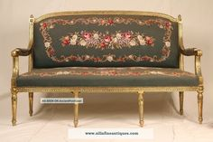 Antique Vintage French Shabby Aubusson Needlepoint Settee
