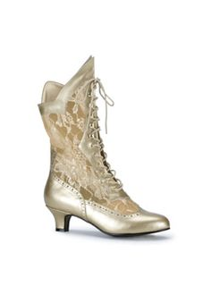 DAME-115 Gold Lace Boots - Gothic boots