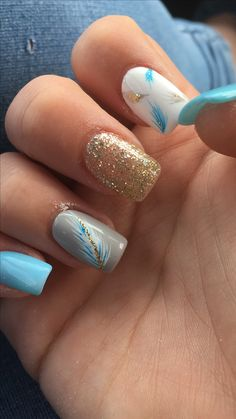 Summer Nail Designs With Glitter Festa - glitter nails :amazing summer toe nail art designs-simple summer Summer Toe Nails, Cute Summer Nails, Cute Nails, Pretty Nails, Cute Summer Nail Designs, Cool Nail Designs, Light Blue Nail Designs, Blue Nails With Design, Nails Design