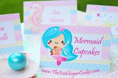 Mermaid Birthday Party Food Tent Cards Cupcake Toppers Flag Bunting Banner Garland Free Printable Template Pattern by The Iced Sugar Cookie
