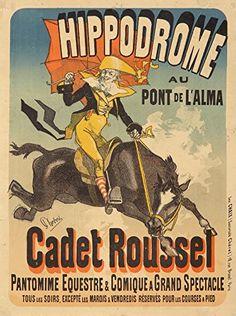 Hippodrome  Cadet Roussel Vintage Poster artist Cheret Jules France c 1882 24x36 Giclee Gallery Print Wall Decor Travel Poster